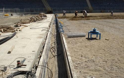 Электрический подогрев футбольного поля