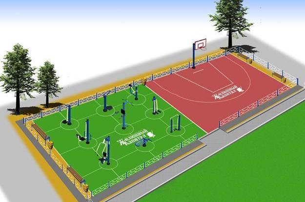 Уличная спортивная тренажерная площадка в комбинации с баскетбольными площадками