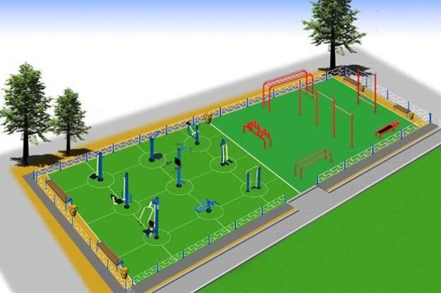 Уличная спортивная тренажерная площадка в комбинации  с воркаут площадками