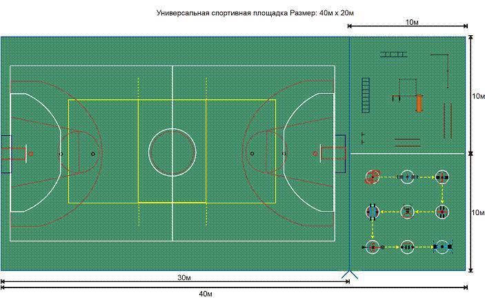 Универсальная площадка – баскетбол, волейболь, воркаут площадка, площадка для уличного nренажера.
