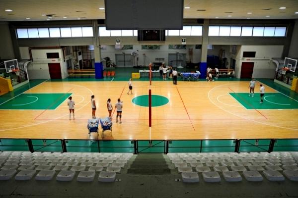 Волейбольная многофункциональная площадка из паркетной доски